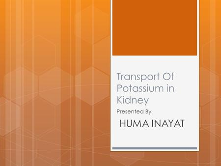 Transport Of Potassium in Kidney Presented By HUMA INAYAT.