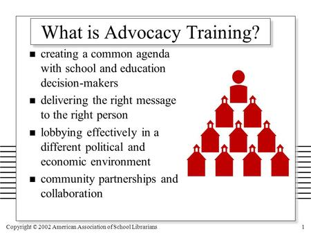 Copyright © 2002 American Association of School Librarians1 What is Advocacy Training? n creating a common agenda with school and education decision-makers.