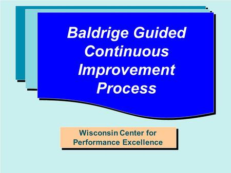1 O RIENTATION T O P ERFORMANCE E XCELLENCE Baldrige Guided Continuous Improvement Process Wisconsin Center for Performance Excellence.