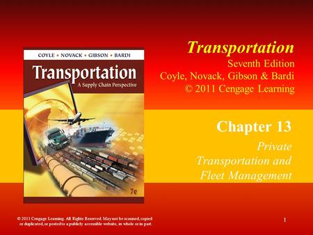 Chapter 13 Private Transportation and Fleet Management