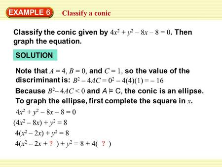 EXAMPLE 6 Classify a conic