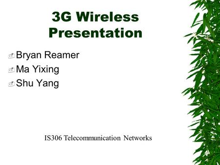 3G Wireless Presentation  Bryan Reamer  Ma Yixing  Shu Yang IS306 Telecommunication Networks.
