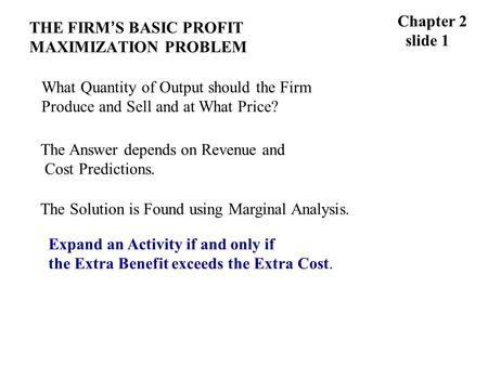 THE FIRM ' S BASIC PROFIT MAXIMIZATION PROBLEM Chapter 2 slide 1 What Quantity of Output should the Firm Produce and Sell and at What Price? The Answer.