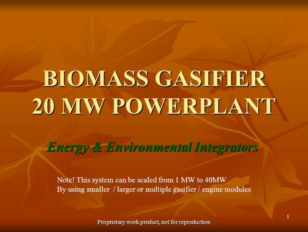 Proprietary work product, not for reproduction 1 BIOMASS GASIFIER 20 MW POWERPLANT Energy & Environmental Integrators Note! This system can be scaled from.