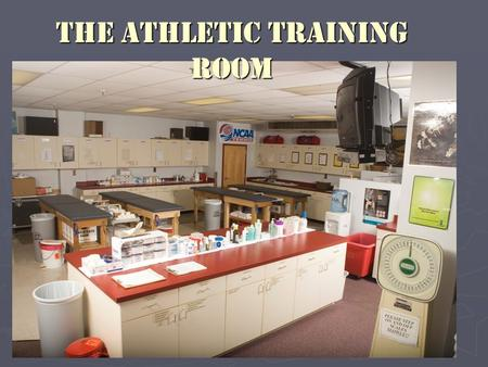 The Athletic Training Room. ► Multipurpose facility designed to accommodate a variety of athletic training needs ► Accessible to both male and female.