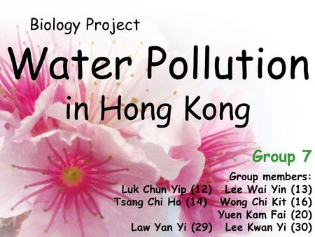 Water Pollution in Hong Kong Group members: Luk Chun Yip (12) Lee Wai Yin (13) Tsang Chi Ho (14) Wong Chi Kit (16) Yuen Kam Fai (20) Law Yan Yi (29) Lee.