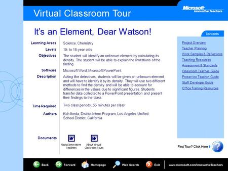 It's an Element, Dear Watson! Project Overview Teacher Planning Work Samples & Reflections Teaching Resources Assessment & Standards Classroom Teacher.