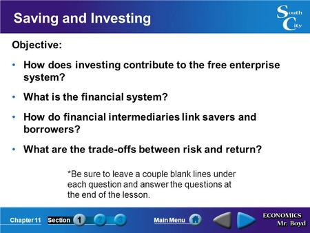 Saving and Investing Objective: