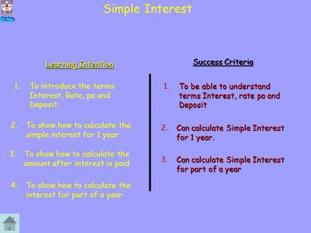Simple Interest Learning Intention Success Criteria 1.To introduce the terms Interest, Rate, pa and Deposit. To be able to understand terms Interest, rate.