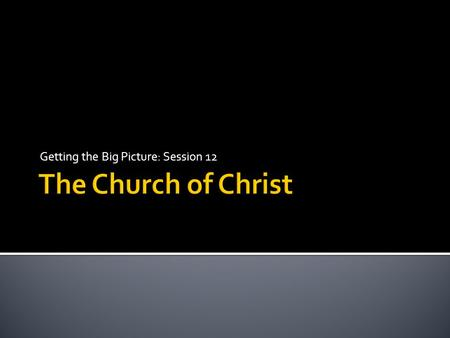 Getting the Big Picture: Session 12. The Life of Christ The Church of Christ.