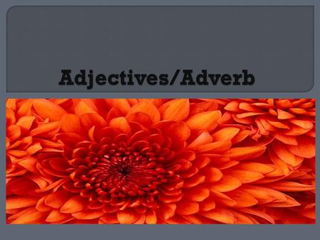 Adjectives/Adverb.