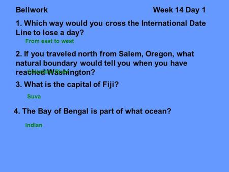 3. What is the capital of Fiji?