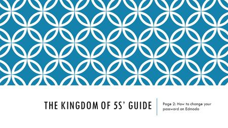 THE KINGDOM OF 5S' GUIDE Page 2: How to change your password on Edmodo.