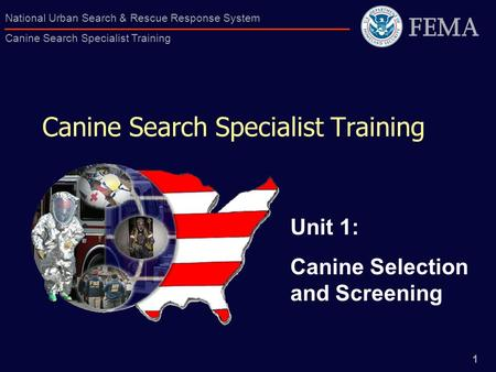 1 National Urban Search & Rescue Response System Canine Search Specialist Training Canine Search Specialist Training Unit 1: Canine Selection and Screening.
