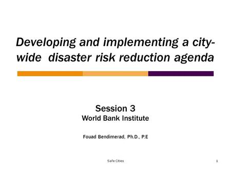 Safe Cities 1 Developing and implementing a city- wide disaster risk reduction agenda Session 3 World Bank Institute Fouad Bendimerad, Ph.D., P.E.