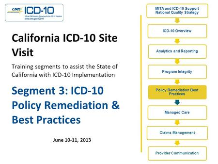 Segment 3: ICD-10 Policy Remediation & Best Practices June 10-11, 2013 California ICD-10 Site Visit Training segments to assist the State of California.