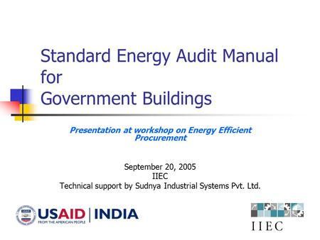 Standard Energy Audit Manual for Government Buildings