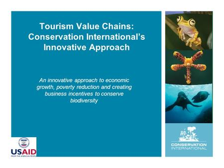 Tourism Value Chains: Conservation International's Innovative Approach An innovative approach to economic growth, poverty reduction and creating business.