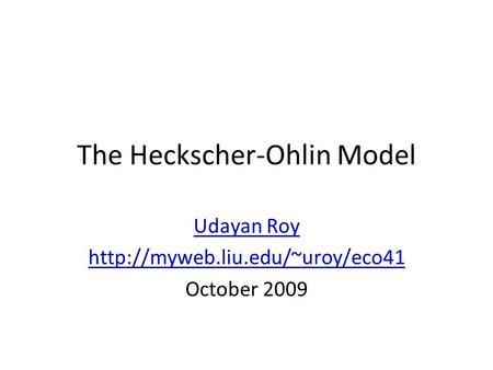 Heckscher-Ohlin Theory