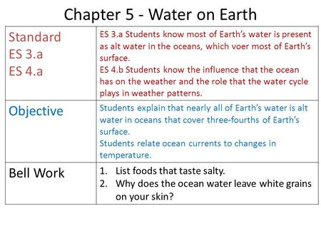 Chapter 5 - Water on Earth