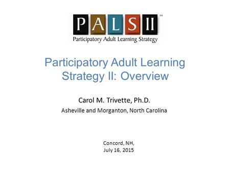 Participatory Adult Learning Strategy II: Overview