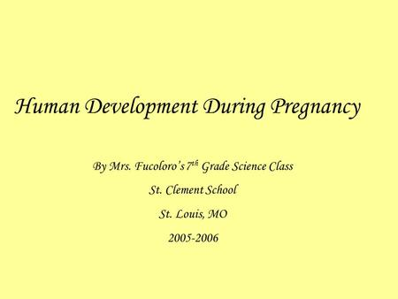 Human Development During Pregnancy By Mrs. Fucoloro's 7 th Grade Science Class St. Clement School St. Louis, MO 2005-2006.