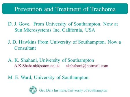 Prevention and Treatment of Trachoma