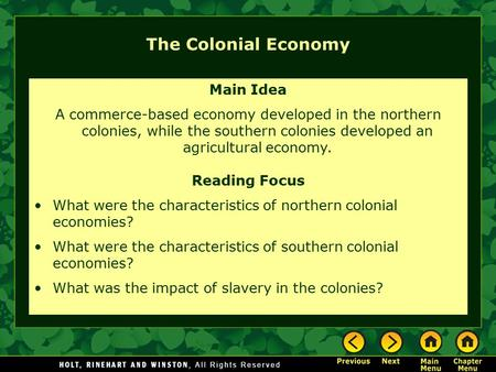 The Colonial Economy Main Idea