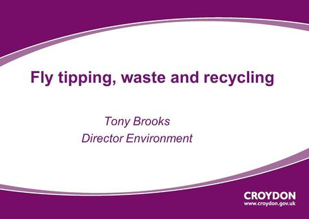 Fly tipping, waste and recycling Tony Brooks Director Environment.