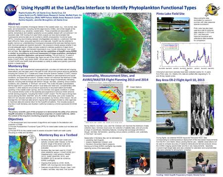 Using HyspIRI at the Land/Sea Interface to Identify Phytoplankton Functional Types There are many properties of biological interest in the coastal ocean,