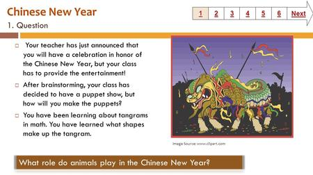 1. Question  Your teacher has just announced that you will have a celebration in honor of the Chinese New Year, but your class has to provide the entertainment!