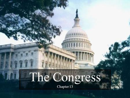 "The Congress Chapter 13. 2 "" In framing a government which is to be administered by men over men, the great difficulty lies in this: you must first enable."
