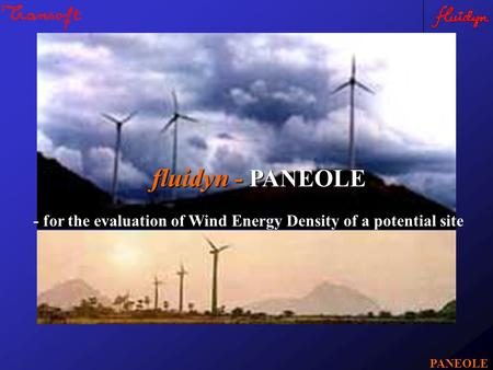 Fluidyn - PANEOLE PANEOLE - for the evaluation of Wind Energy Density of a potential site.