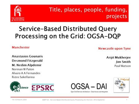 14-18 March 2004 EDBT'04 : Service-Based Distributed Query Processing for the Grid (M N Alpdemir) 1 Title, places, people, funding, projects Manchester.