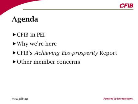 Www.cfib.ca Agenda CFIB in PEI Why we're here CFIB's Achieving Eco-prosperity Report Other member concerns.