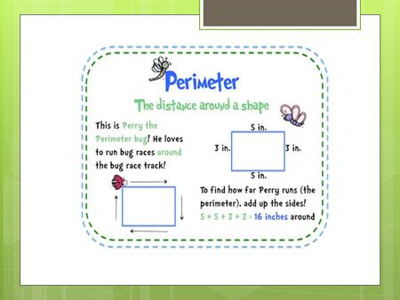Now that you remember what perimeter is, see if you can find the perimeter in the following problems.  Sally wanted to buy stepping stones to put around.