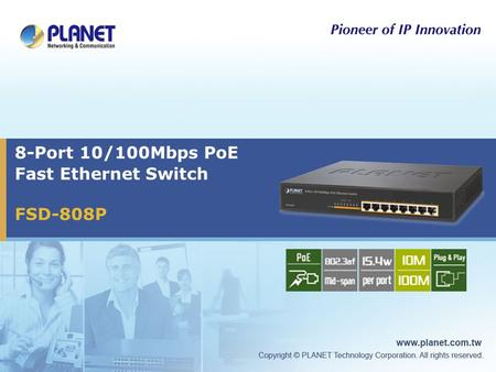 8-Port 10/100Mbps PoE Fast Ethernet Switch FSD-808P.