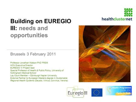 Building on EUREGIO III: needs and opportunities Brussels 3 February 2011 Professor Jonathan Watson PhD FRSM HCN Executive Director EUREGIO III Project.