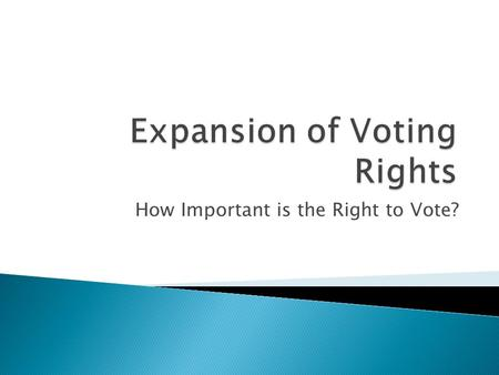 How Important is the Right to Vote?.  Ratified in 1870  The right to vote cannot be denied to any citizen of the United States because of race, color.