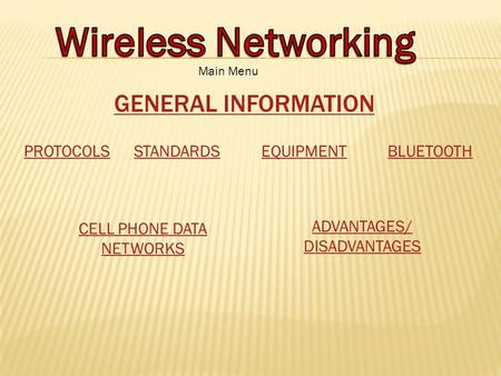 PROTOCOLSSTANDARDSEQUIPMENTBLUETOOTH CELL PHONE DATA NETWORKS ADVANTAGES/ DISADVANTAGES GENERAL INFORMATION Main Menu.