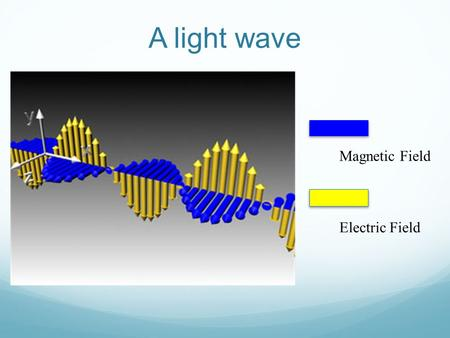A light wave Magnetic Field Electric Field. The Ray Model of Light Taken from www.drake.edu/artsci/physics/L231-234.ppt Since light seems to move in straight.