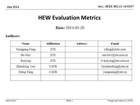 Doc.: IEEE 802.11-14/0107 Jan 2014 SubmissionYonggang Fang et. al. (ZTE) HEW Evaluation Metrics Date: 2014-01-20 Slide 1 Authors: NameAffiliationAddressEmail.