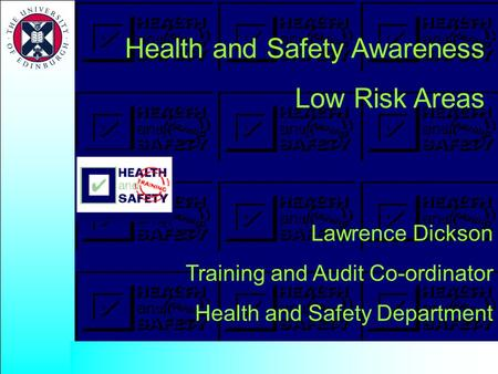 Health and Safety Awareness Low Risk Areas Lawrence Dickson Training and Audit Co-ordinator Health and Safety Department.