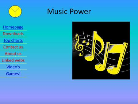 Music Power Homepage Downloads Top charts Contact us About us Linked webs Video's Games!
