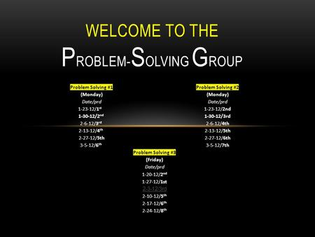 WELCOME TO THE P ROBLEM- S OLVING G ROUP Problem Solving #1 Problem Solving #2(Monday)Date/prd 1-23-12/1 st 1-23-12/2nd 1-30-12/2 nd 1-30-12/3rd 2-6-12/3.
