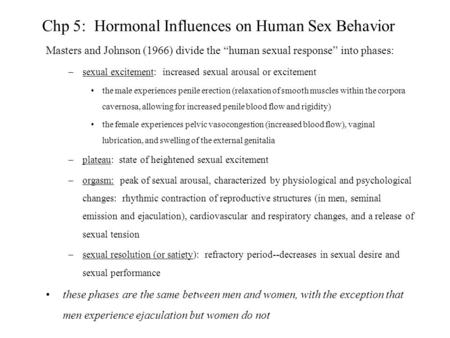 Chp 5: Hormonal Influences on Human Sex Behavior