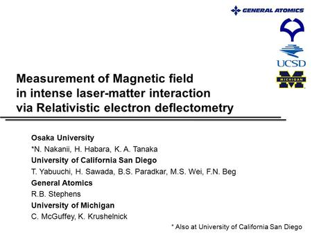 Measurement of Magnetic field in intense laser-matter interaction via Relativistic electron deflectometry Osaka University *N. Nakanii, H. Habara, K. A.