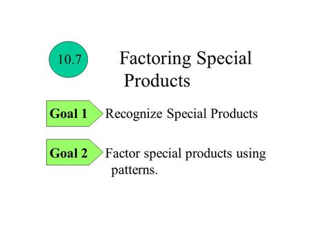 Factoring Special Products Goal 1 Recognize Special Products Goal 2 Factor special products using patterns. 10.7.
