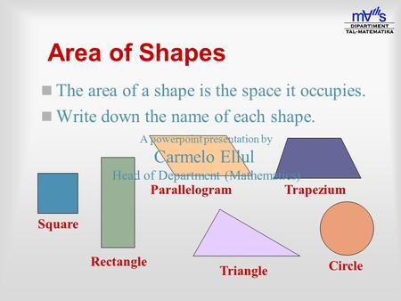 Area of Shapes n The area of a shape is the space it occupies. n Write down the name of each shape. Square Rectangle ParallelogramTrapezium Circle Triangle.