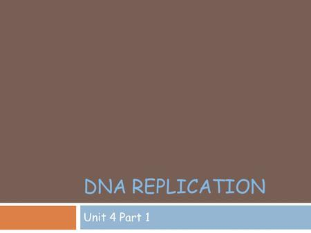 DNA REPLICATION Unit 4 Part 1. Review of DNA structure  Deoxyribonucleic Acid.  Basis for all living things.  Codes for proteins which control traits.
